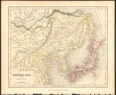 1840 ca ANTIQUE MAP - CENTRAL ASIA, EASTERN DIVISION, CHINESE EMPIRE, MANCHURIA,