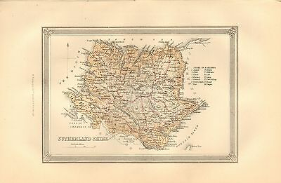 1875 Ca ANTIQUE MAP SCOTLAND SUTHERLAND SHIRE, PARISHES