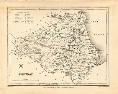 1842 Antique County Map- Durham,Hartlepool,Sunderland,Darlington,