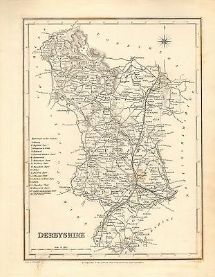 1842 Antique County Map- Derbyshire,Bakewell,Chesterfield,Buxton,Ashbourne