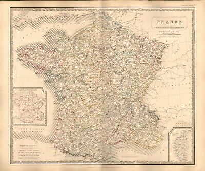 1844 Large Antique Map- Johnston - France With Military Circles, Inset Corsica