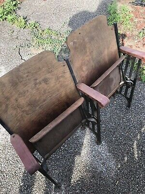Vintage Art Deco theater seats Wooden And Cast Iron Original