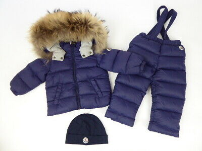 Moncler Coat, Trousers And Hat Baby Boys Fur Hood Coat Size 12-18 Months
