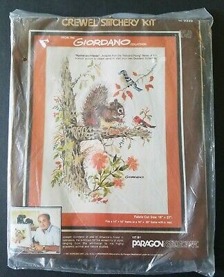 Vintage Paragon Giordano Squirrel And Friends Crewel Stitchery Kit 1981 New