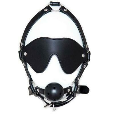 Masque Ball Gag Blindfold Mask Harness Eye patch Restraint Bondage UA94
