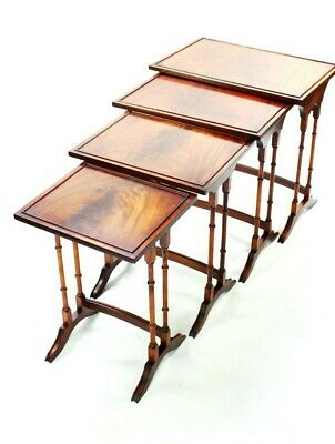 Vintage Regency Style Flamed Mahogany Nest of 4 Tables - FREE Shipping [5357]