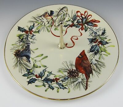Lenox China WINTER GREETINGS Serving Plate w/Handle EXCELLENT