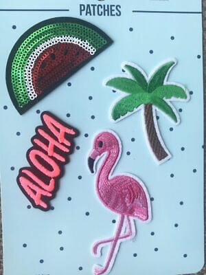 Aufnäher Applikation Flamingo Cocktail  Patches Set 4 Teile
