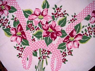 Vintage PINK FLORAL Printed Cottage LG Tablecloth GINGHAM BOWS Gorgeous Colors!
