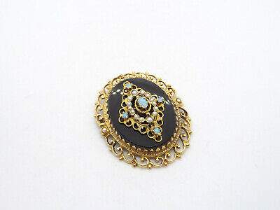 Antique Victorian Large 14K Solid Gold Onyx Opal Seed Pearl Brooch or Pendant