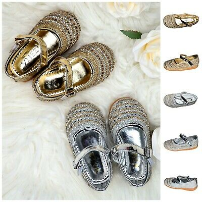 Toddler Baby Kids Girl Ballerinas Diamante Flat Princess Shoes Gold Silver Pumps