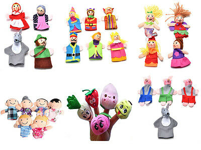 4/6/10Pcs Family Finger Puppets Cloth Doll Educational Hand Cartoon Animals T Pn