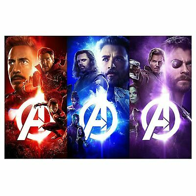 Marvel Avengers 3 Colours Theme Poster Self Adhesive Wall Sticker Art Decal M...