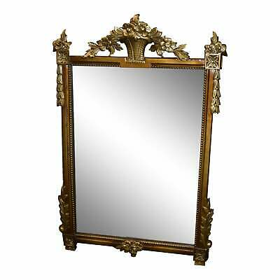 Antique Ornate Adam's Style Burnished Gold Wall Mirror w/Distressed Glass