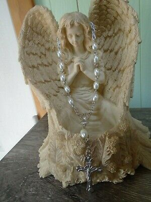 Oval White Pearl ROSARY BEADS Auto 1 One Decade Bracelet Chaplet HANDMADE!