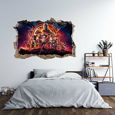 Marvel Avengers Endgame 3D Hole in The Wall Effect Wall Sticker Art Decal Mural