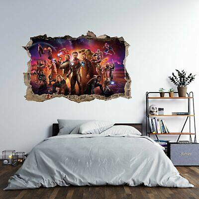 Marvel Avengers Theme 3D Hole in The Wall Effect Wall Sticker Art Decal Mural