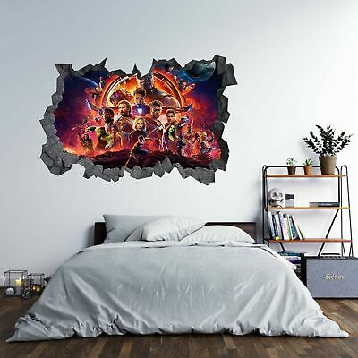 Marvel Avengers Theme 3D Hole in The Wall Effect C Wall Sticker Art Decal Mural