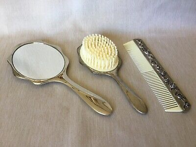 Mirror Brush And Comb Dressing Table Set Silver Plated Vintage