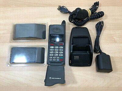 Vintage MOTOROLA DCP650 Flip Cell Phone W/ Chargers, Batteries & Cradle WORKS!!!