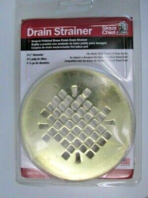 "Snap in Round Replacement Strainer Polished Brass 4 1/4"" Diameter Sioux"