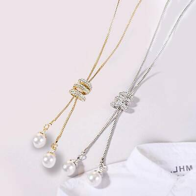 New Jewelry Pearl Pendant Necklace Exquisite Long Tassel Sweater Chain UK
