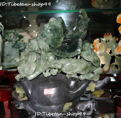 """14"""" Rare Chinese Natural Green Jade Carving Wealth Money Coin Golden Toad Statue"""