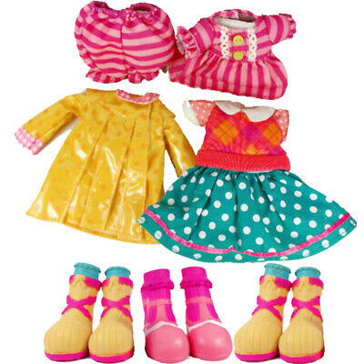 """3x Outfit Fashion Clothes Dress Pajamas Raincoat Shoes for 12"""" LALALOOPSY Dolls"""