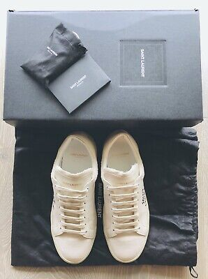 f40797e6b449 Saint Laurent Court Classic Sl/06 Embroidered Canvas & Leather Sneakers  40.5 Ysl