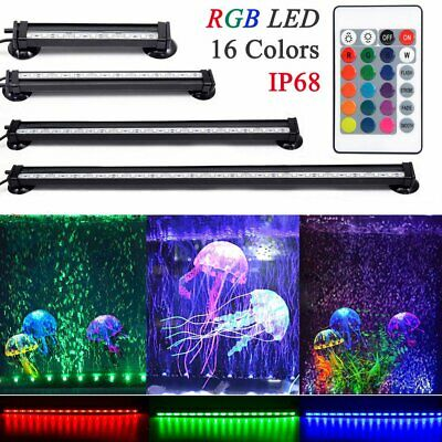 RGB LED Submersible Air Bubble Light Underwater Aquarium Fish Tank Bar + Remote