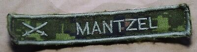 "Used Canadian Army Temperate Cadpat Camo Name Tag  ""Mantzel"""
