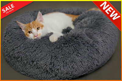 Pet Dog Cat Calming Bed Round Nest Warm Soft Plush Sleeping Bag Comfy and Flufy