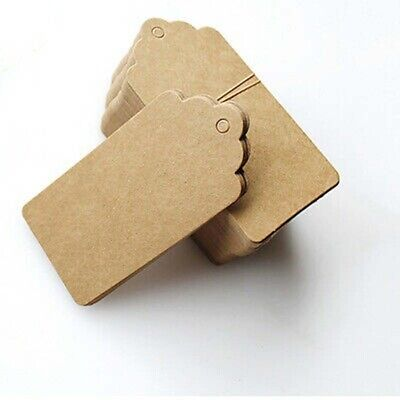 100X Blank Kraft Paper Hang Tags Wedding Party Favor Gift Cards Price Label I1M2