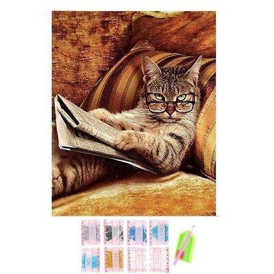 Glasses Cat Lying On The Sofa Reading Book,Diy Diamond Embroidery,5d,Cat,Di T7S3