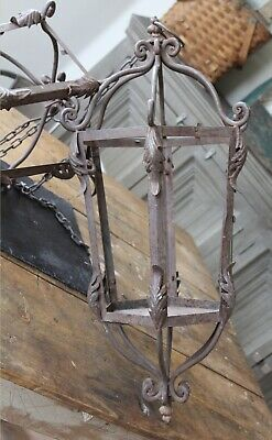 Pair Wrought Iron Hanging Lanterns 1800s French Gorgeous Patina Architectural