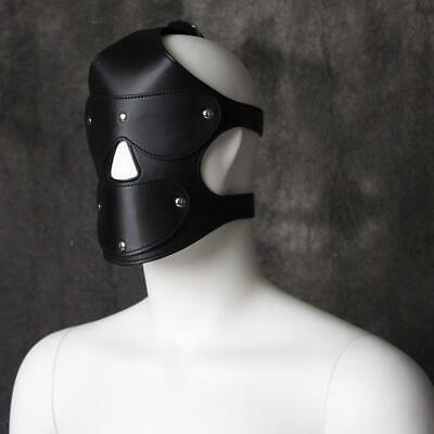 Kunstleder Maske Fuax Leather Hood Open Eye Mask Harness Bondage Kostüm UA1213