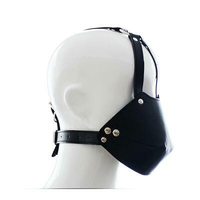 Kunstleder Maske Dog Faux Leather Hood Harness Mask Bondage Neck Collar UA1189