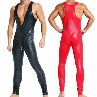 Men's Herren Faux Leather Bodysuit Clubwear Catsuit Bondage Jumpsuit Romper Gay