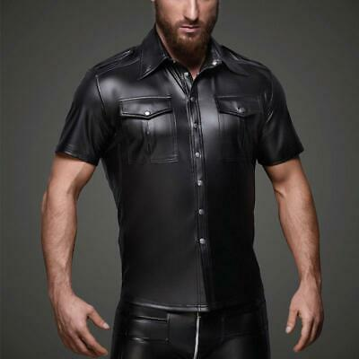 Sexy Men's Kunstleder Polizei Glanz Tight Glanz Herren shirts Cosplay Gay SH2