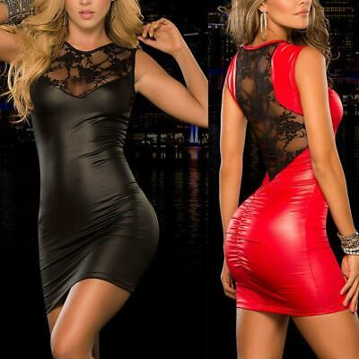 Sexy Damen Rot Schwarz Lederkleid Mini kleid Bodysuit Wetlook Minirock  2XL