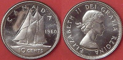 Brilliant Uncirculated 1960 Canada Silver 10 Cents From Mint's Roll