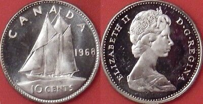 Brilliant Uncirculated 1968 Canada Silver 10 Cents From Mint's Roll