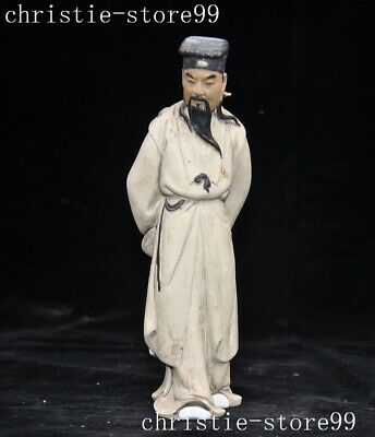 "8""Rare Chinese pottery porcelain glaze ancient Old Man Knight Sword fairy Statue"