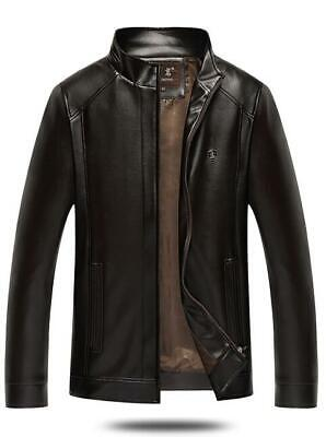 New Fashion Men's PU Leather Stand Collar Jacket Slim Fit casual Jacket Top Coat