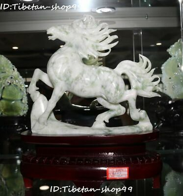 Rare China Natural Green Jade Carving Success Running Horse Horses Animal Statue