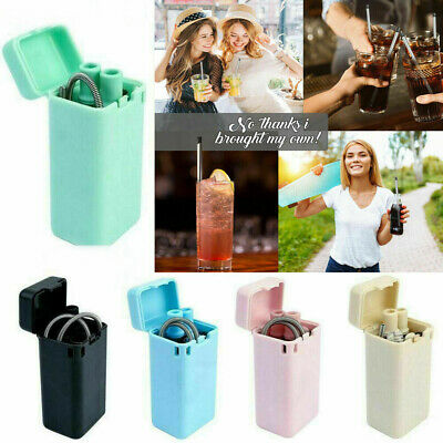Reusable Collapsible Straw Silicone Folding Outdoor Metal Drinking Straw Foldabl