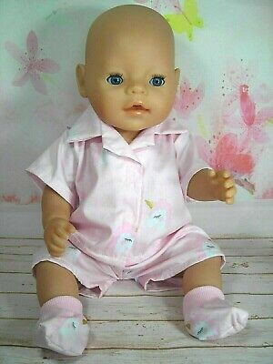 "Dolls clothes  for 17"" Baby Born  doll~PINK UNICORN SUMMER PYJAMAS~BED SOCKS SET"