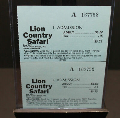 Vintage Pair Of Lion Country Safari Admission Sequential Ticket Stubs