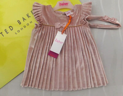 Ted Baker Baby Girls Pink Velvet Pleated Dress & Headband Set BNWT 4-5 years