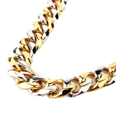 13/15mm Mens Hip Hop Silver Gold Stainless Steel Curb Chain bracelet or Necklace